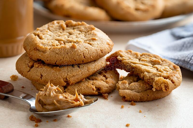 Peanut Butter Cookies on a Table royalty free stock image
