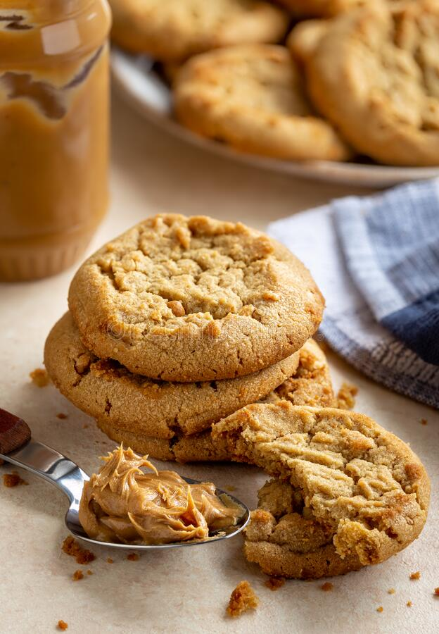 Peanut Butter Cookies on a Table stock photos