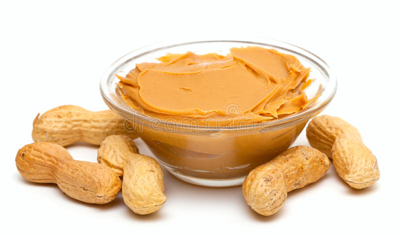 Peanut butter with peanuts stock photo