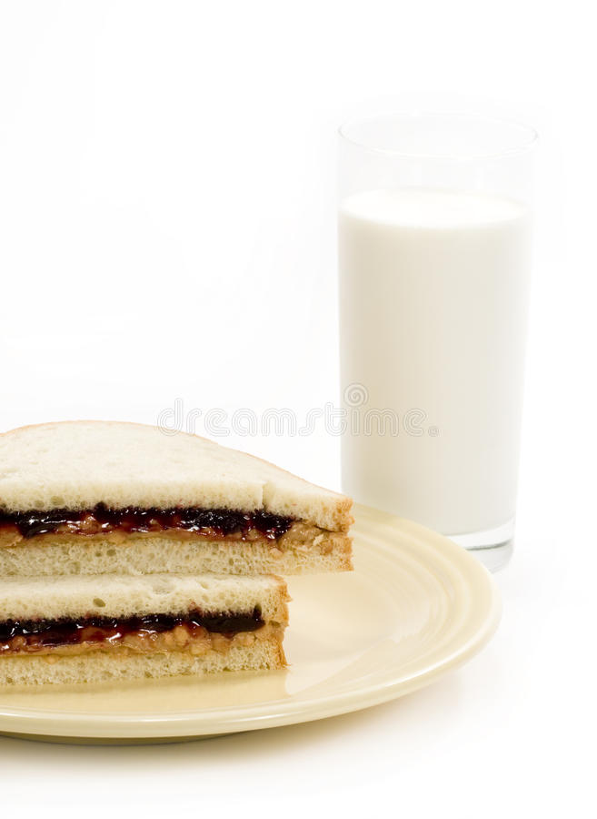 Download Peanut-butter Sandwich & Milk Stock Image - Image: 14062535