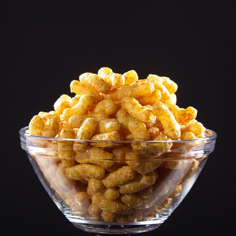 Peanut flips. In glass bowl royalty free stock photo
