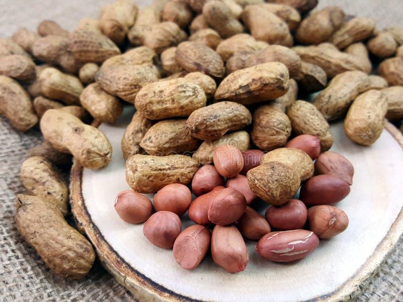 Peanut or groundnut on a wood plate. stock photos