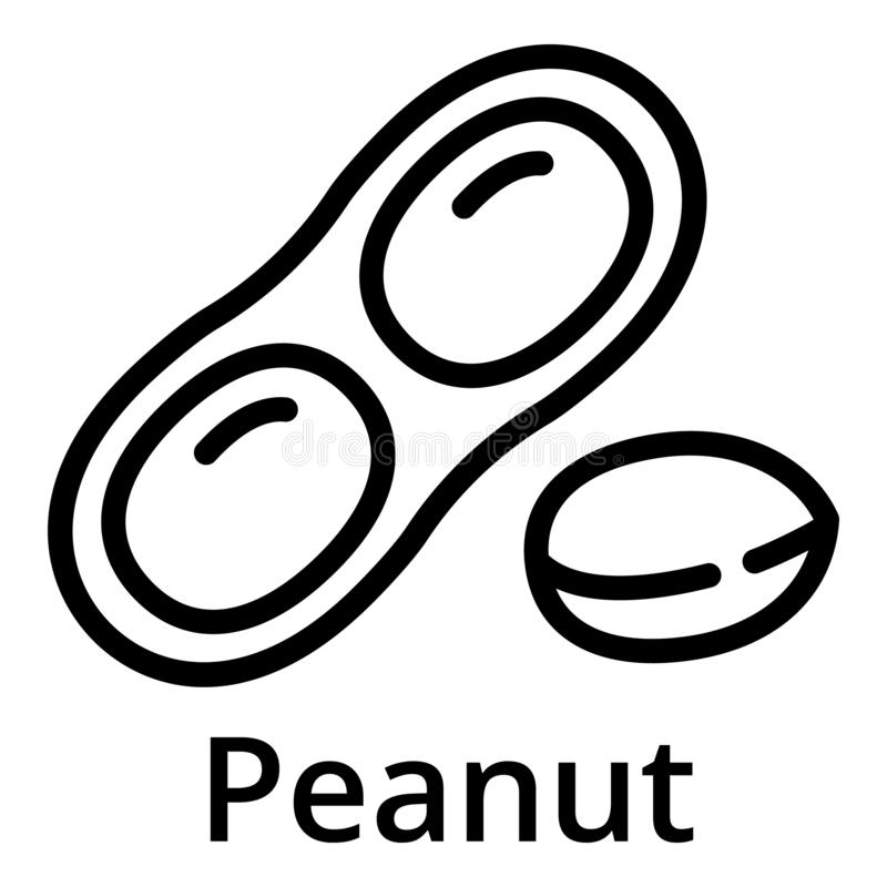 Peanut icon, outline style. Peanut icon. Outline peanut vector icon for web design isolated on white background stock illustration