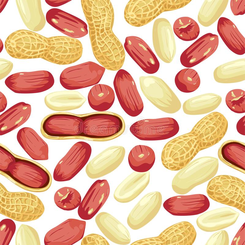 Free Peanut Nut Seed Whole And Shelled, Peanuts In Pod Seamless Pattern. Stock Photo - 199657070