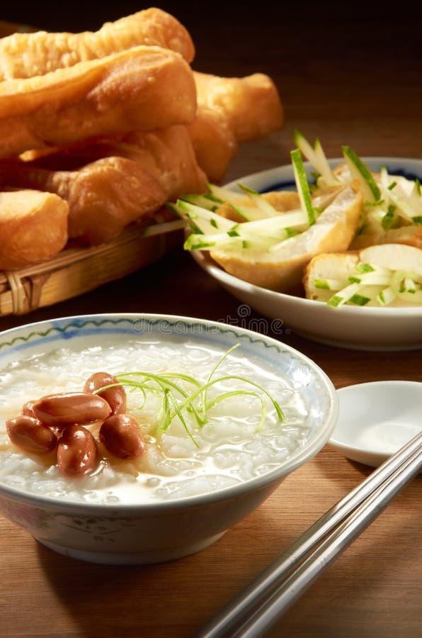 Peanut Porridge. Oriental porridge with peanut and nice table setting royalty free stock photo