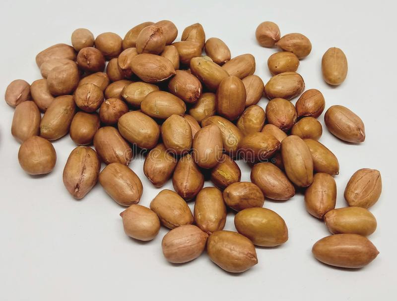Peanut seed in white background rich in fibre. Peanut seed in white background rich in stock photo