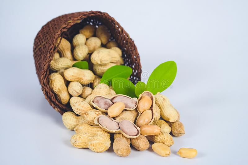 Peanut spill out of basket royalty free stock photography