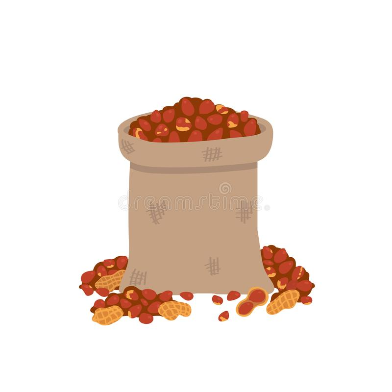 Peanuts in a bag Isolated on a white background.Vector illustration in freehand drawn style.  stock illustration