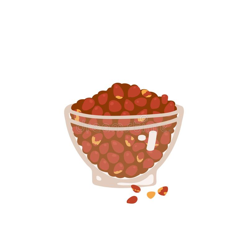 Peanuts in a cup Isolated on a white background.Vector illustration in freehand drawn style.  vector illustration