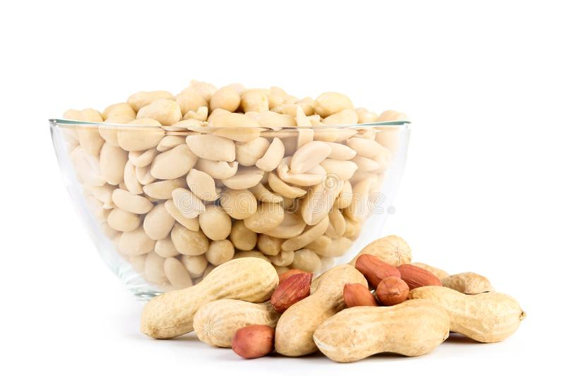 Peanuts in glass bowl royalty free stock photo
