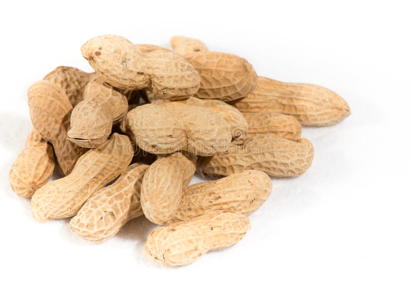 Peanuts isolated on white background stock photography