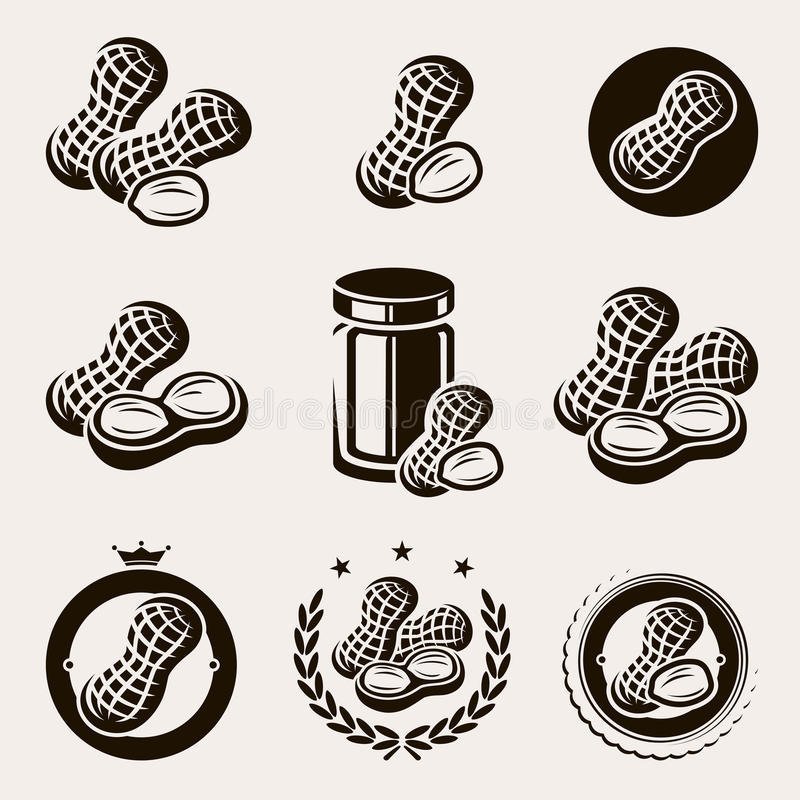 Free Peanuts Label And Icons Set. Vector Royalty Free Stock Images - 41487609