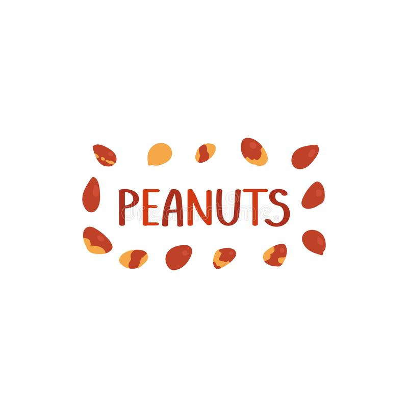 Peanuts Lettering. Frame of nuts. Vector illustration in freehand drawing style.  stock illustration