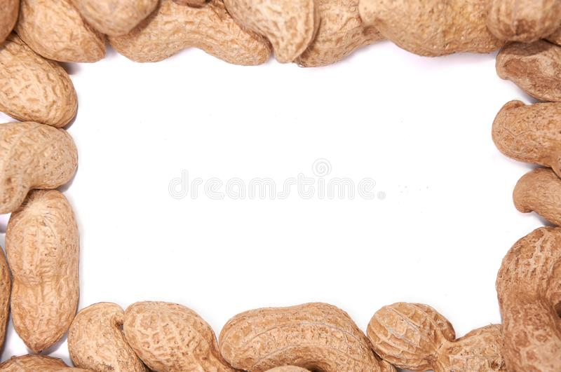 Peanuts in a peel on a white background isolate stock photo