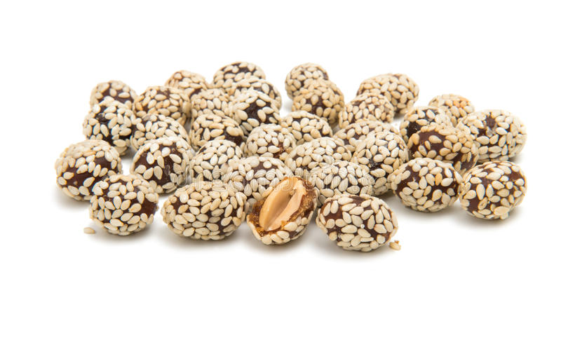 Peanuts in sesame seeds royalty free stock photo