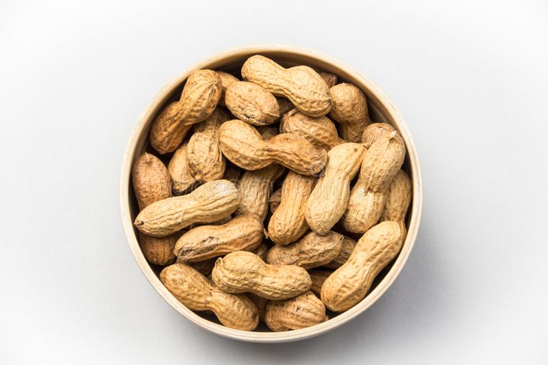 Isolated peanuts on white background royalty free stock image