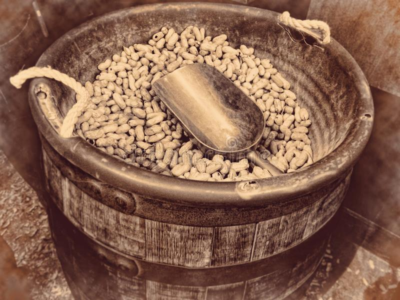 Peanuts wooden barrel full of nuts and a scoop retro vintage background royalty free stock photos