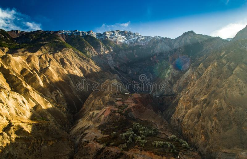 Pear blossoms on the hillside. Pear blossoms in the valley with snow mountain and blue sky , XiZang ,China stock photography