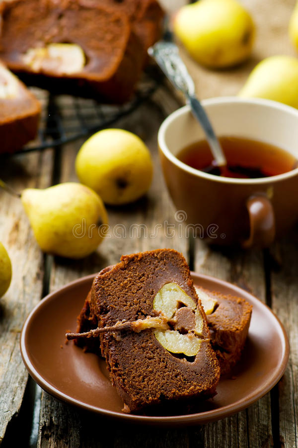 The pear cake with chocolate stock photos