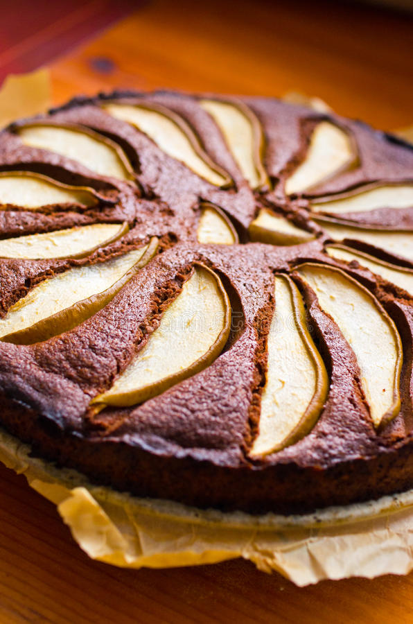 Pear cake with chocolate royalty free stock images