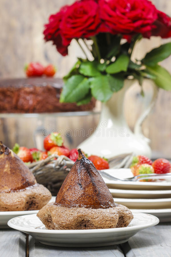 Download Pear In Cake With Chocolate Sauce Stock Photo - Image: 39149140