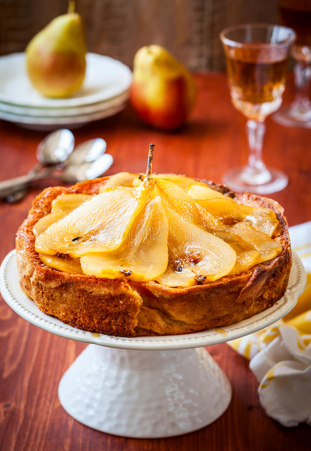 Pear cake for holiday stock photography