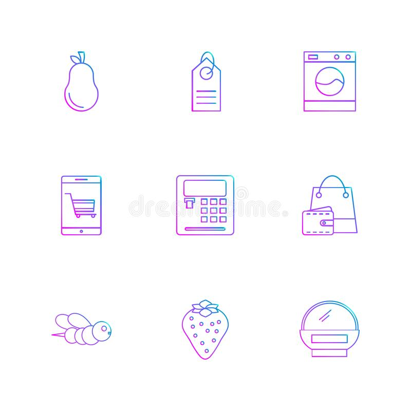 Pear , calculator , web , bee , shopping bag , fruits , technology , nature , health , eps icons set vector. Pear , calculator , web , bee , shopping bag royalty free illustration