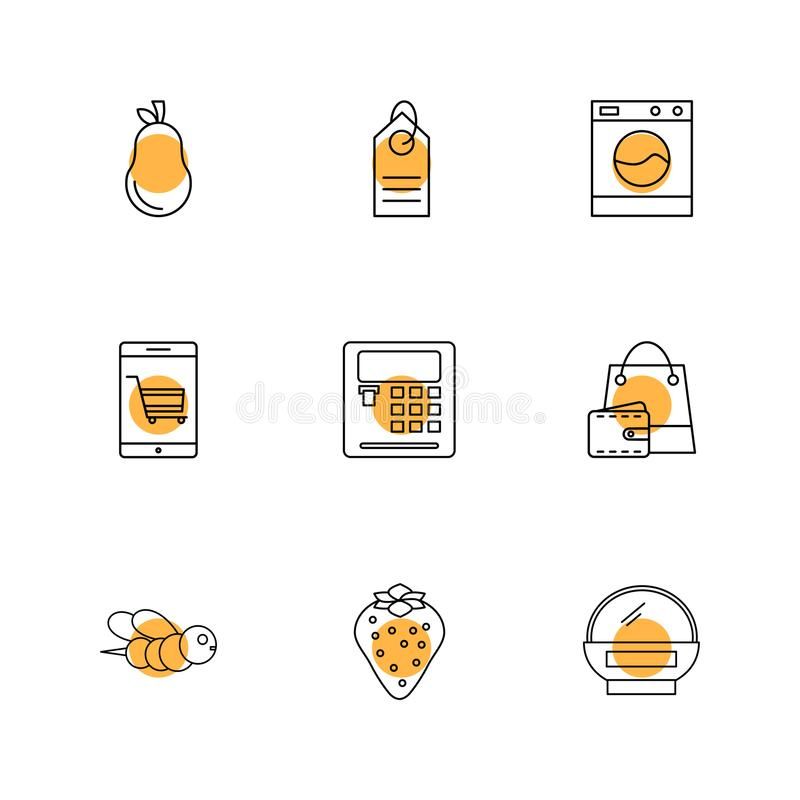 Pear , calculator , web , bee , shopping bag , fruits , technology , nature , health , eps icons set vector. Pear , calculator , web , bee , shopping bag stock illustration