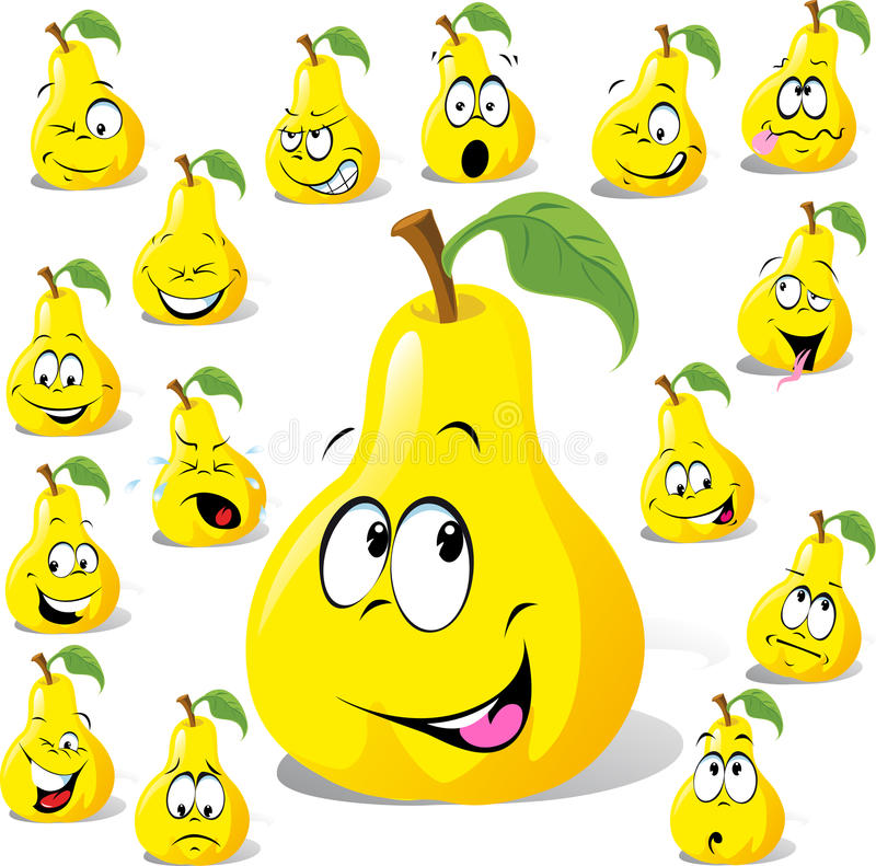 Download Pear Cartoon With Many Expressions Stock Photos - Image: 29876813