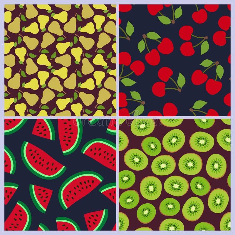 Pear, cherry, watermelon, kiwi seamless pattern. Berries and fruits. Fashion design. Food print for dress, skirt stock illustration