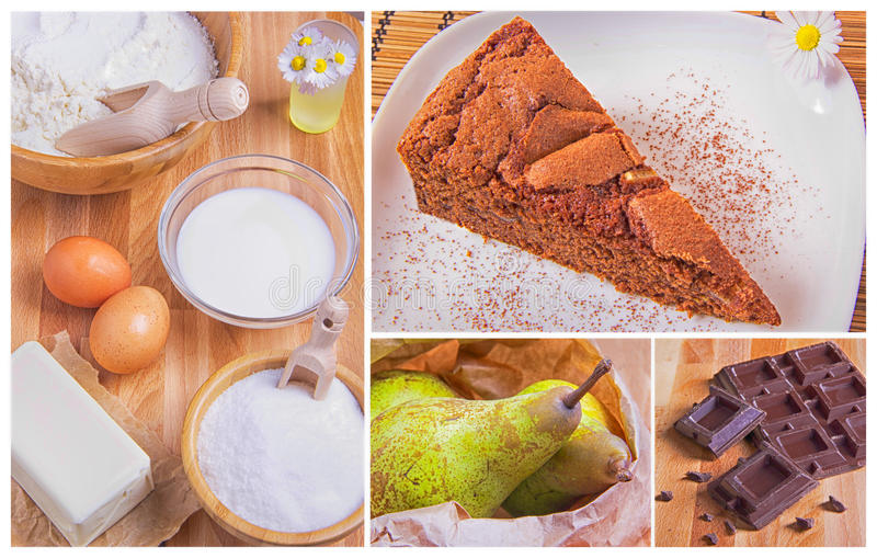Pear and chocolate cake stock image