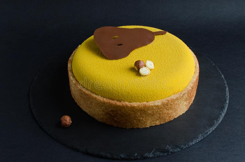 Pear and chocolate mousse cake royalty free stock images