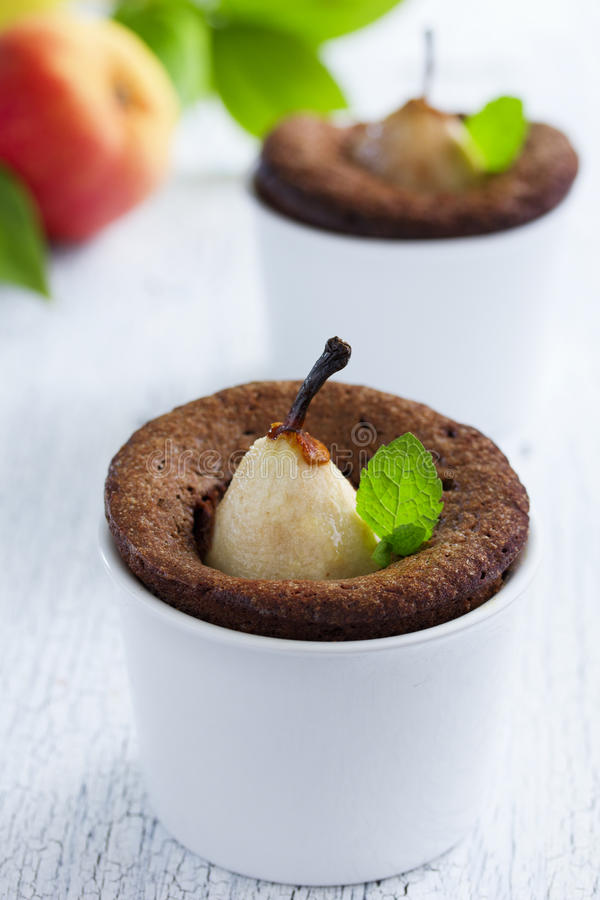 Pear Chocolate muffins royalty free stock photo