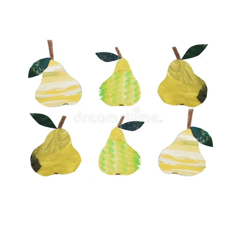 Yellow Pear collage royalty free illustration