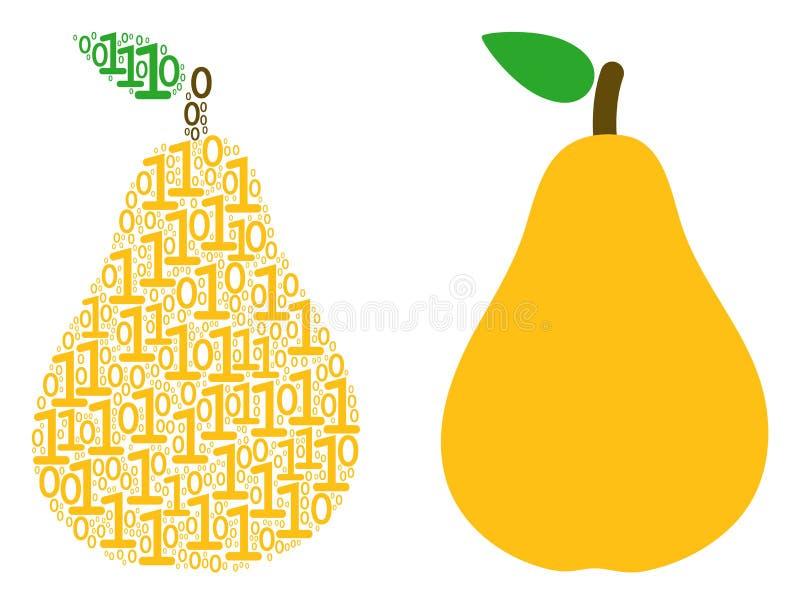 Pear Mosaic of Binary Digits vector illustration