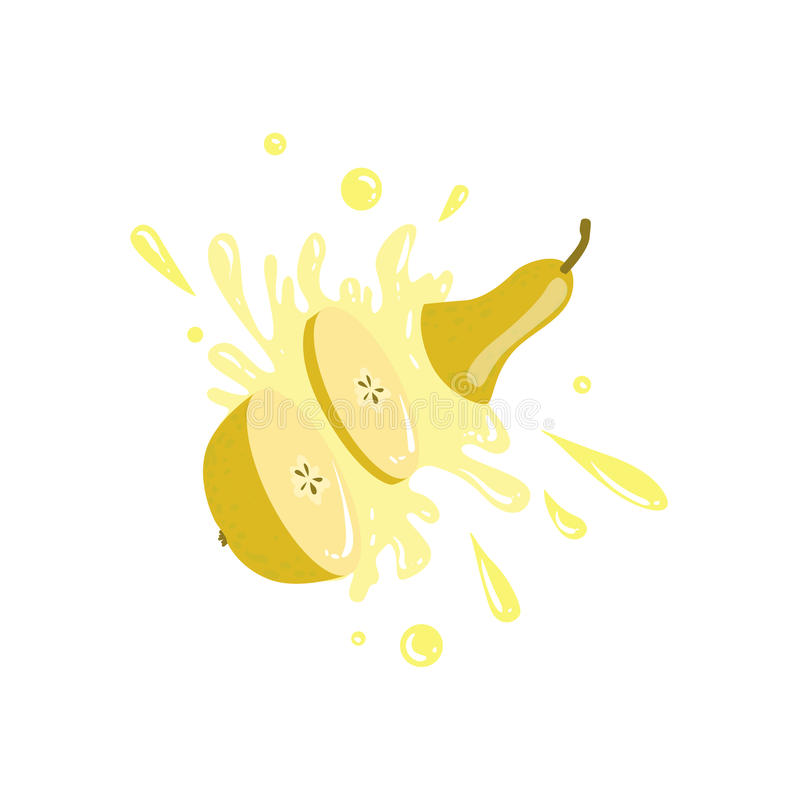 Pear Cut In The Air Splashing The Juice vector illustration