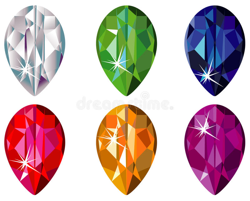 Download Pear Cut Precious Stones With Sparkle Stock Vector - Illustration: 11415544