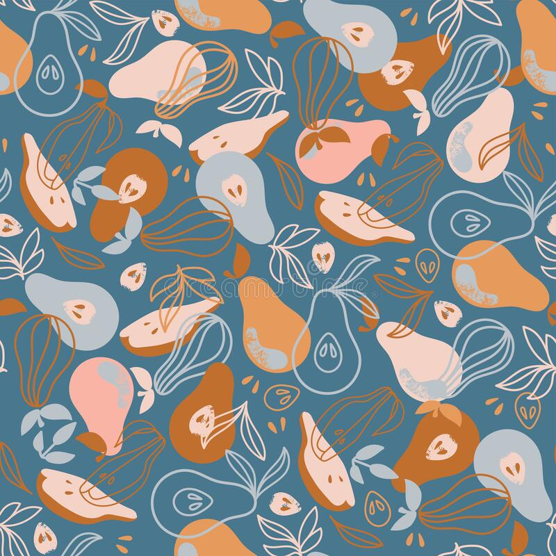 Free PEAR FABRIC Delicious Fruit Hand Drawn Seamless Pattern Vector Royalty Free Stock Image - 193073996