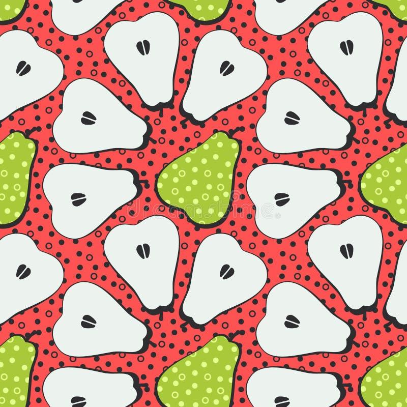 Pear fruit motif seamless pattern. Colorful decoration design royalty free illustration