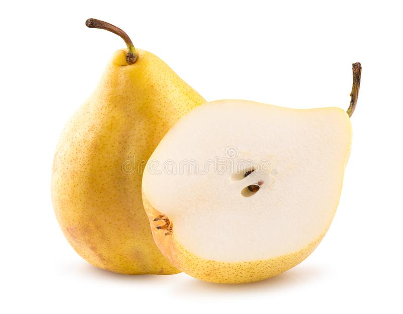 Pear with half of pear isolated on a white background.  royalty free stock photo