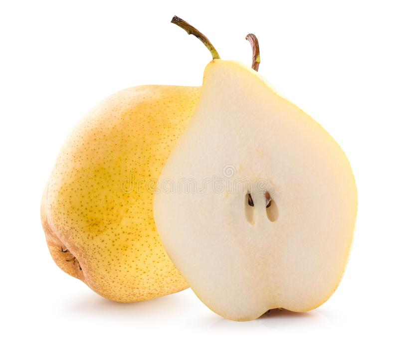 Pear with half of pear isolated on a white background.  stock photos