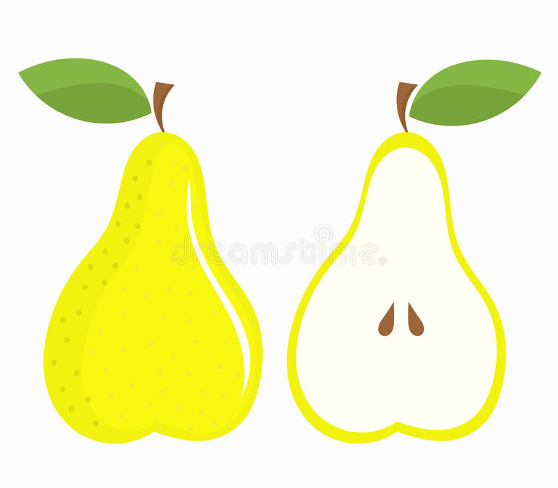 Pear half and whole royalty free illustration
