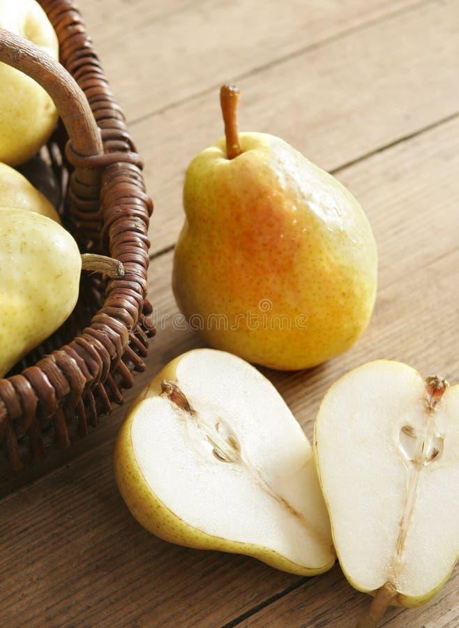 Pear halves stock photography