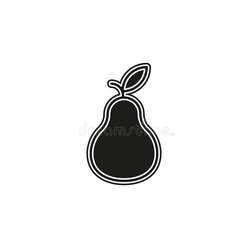 Pear icon, fresh fruit illustration, organic nature symbol royalty free illustration