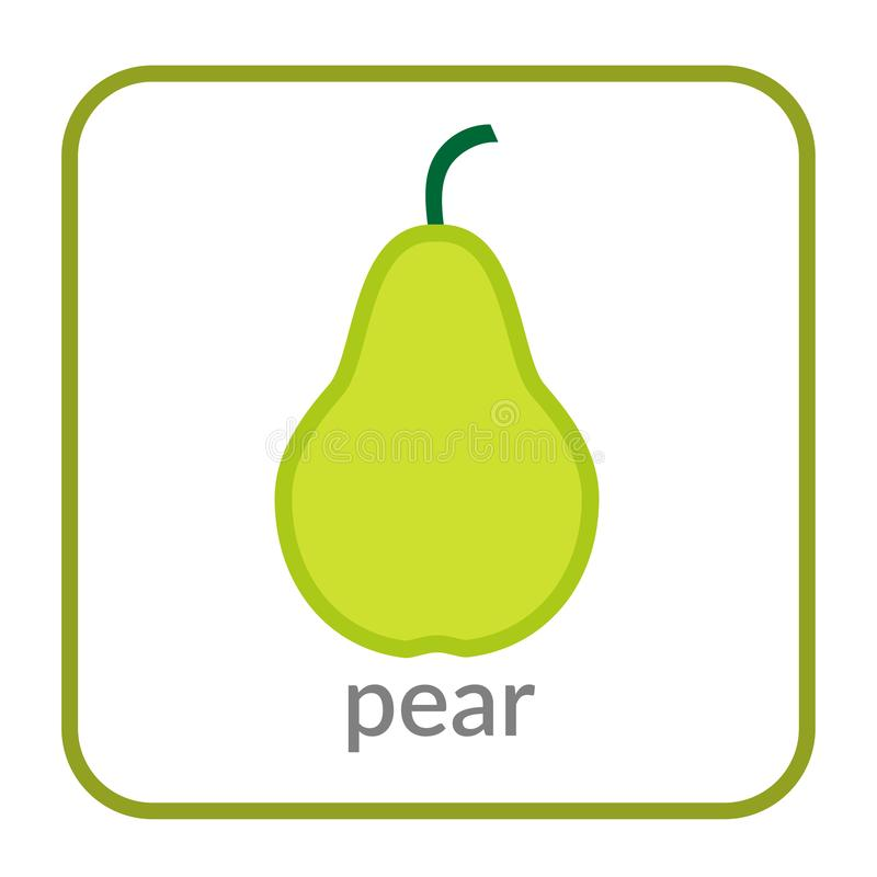 Pear icon. Green outline flat sign, isolated white background. Symbol of health nutrition, eco food fruit. Contour stock illustration