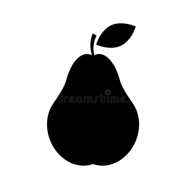 Pear Icon isolated on white background. Black and white apple symbol flat style for your web site design and logo, app, UI. Vector illustration royalty free illustration