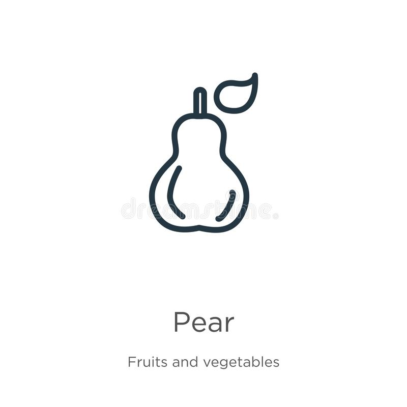 Pear icon. Thin linear pear outline icon isolated on white background from fruits collection. Line vector pear sign, symbol for vector illustration