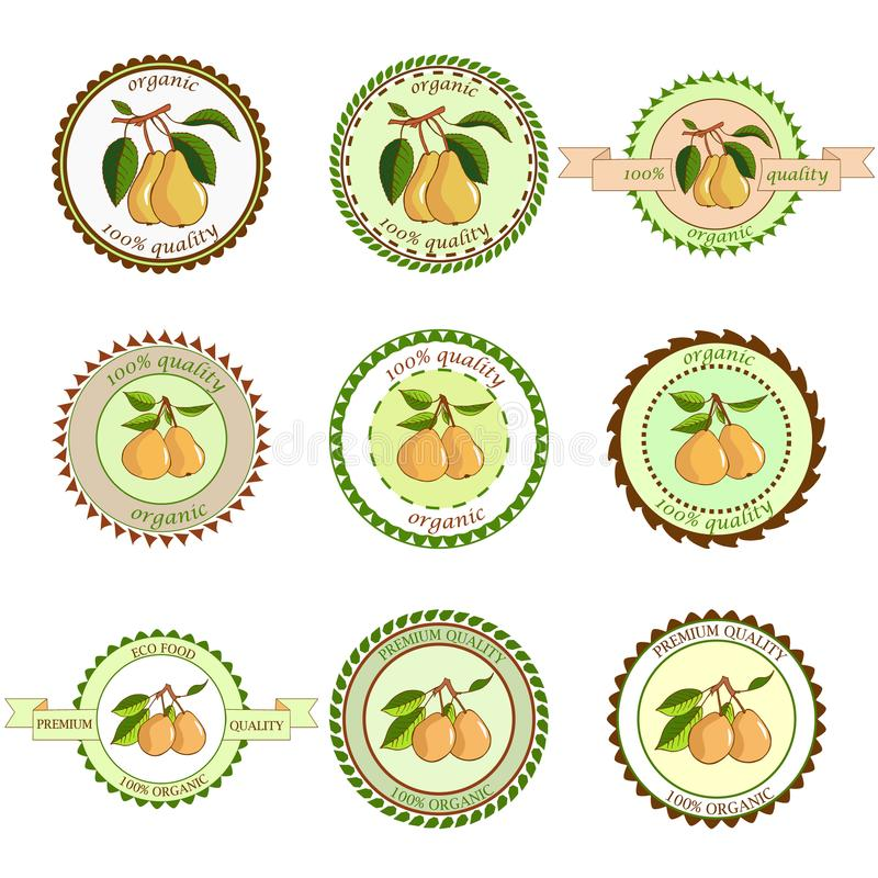 Pear labels. Fruits labels collection. Colorfull variant.Fresh vegetables vector concept. A healthy diet is a flat style of illust. Ration. Isolated green food vector illustration