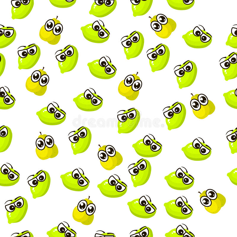 Pear lime and slice. Very high quality original trendy seamless pattern with fresh pear and slice character, personage or face stock illustration