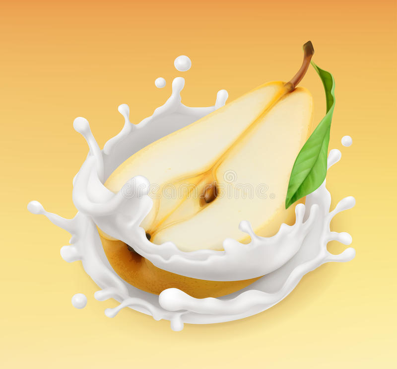 Pear and milk splash. Fruit and yogurt. 3d vector icon vector illustration